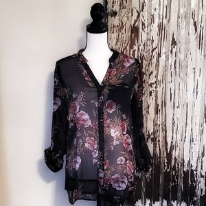 Kut From The Cloth Sheer Black Floral Blouse M